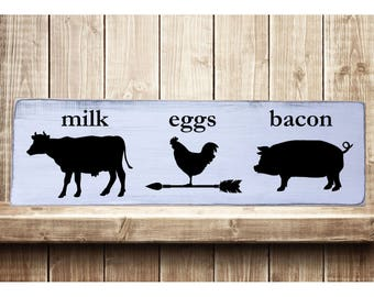 "Milk, Eggs, Bacon Rustic Farmhouse Style Handmade Real Wooden Sign Wall Art Distressed Plaque Home Decor  7.25""x 24"""