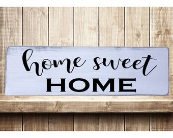 "Home Sweet Home Better Rustic Farmhouse Style Handmade Real Wooden Sign Wall Art Distressed Plaque Home Decor  7.25""x 24"""