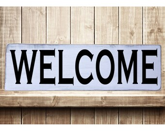 "Welcome - Classic Style Rustic Farmhouse Style Handmade Real Wooden Sign Wall Art Distressed Plaque Home Decor  7.25""x 24"""