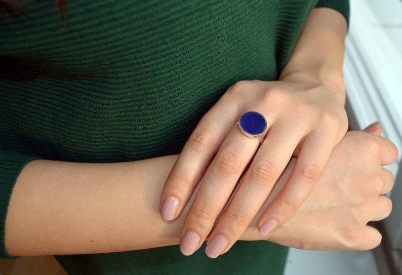 statement lapis ring silver ring Lapis Ring round lapis ring Silver and Lapis Lazuli Ring 925 sterling silver and lapis ring