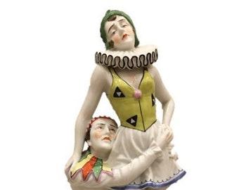"""Antique 1920's Art Deco Pierrot and Columbine  """"Commedia dell'arte"""""""