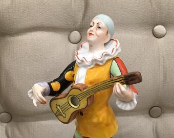 "Antique 1920s Art Deco era Harlequin Figurine    ""Commedia dell'arte"""