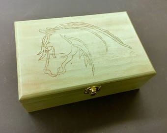 Wood Jewelry box with morgan horse artwork by Paul Brown