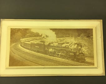 Steam Locomotive carved on re-cycled cabinet door