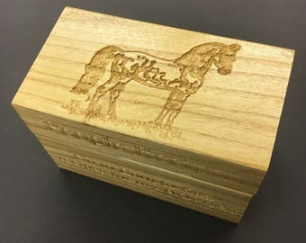 Recipe Box with morgan horse artwork