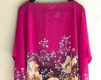 Pink Garden Poncho Top