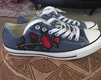5b77213485cb Custom denim converse. NaimaCustoms.  85.00 Free shipping. Handmade Doctor  Who TARDIS Shoes