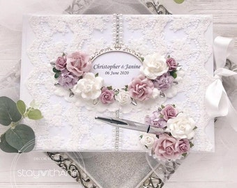 wedding decoration personalised guest book Lilac wedding guest book and optional sign lilac and silver wedding .