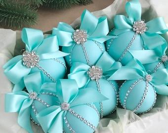 christmas ornaments set tiffany christmas ornament turquoise christmas ornaments tiffany christmas blue christmas ornament handmade - Tiffany Blue Christmas Ornaments