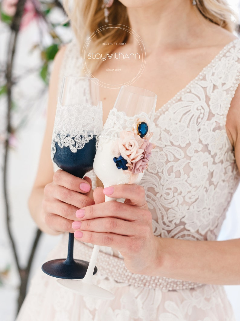 Navy Blue And Dusty Rose Wedding Champagne Flutes Bride And image 1