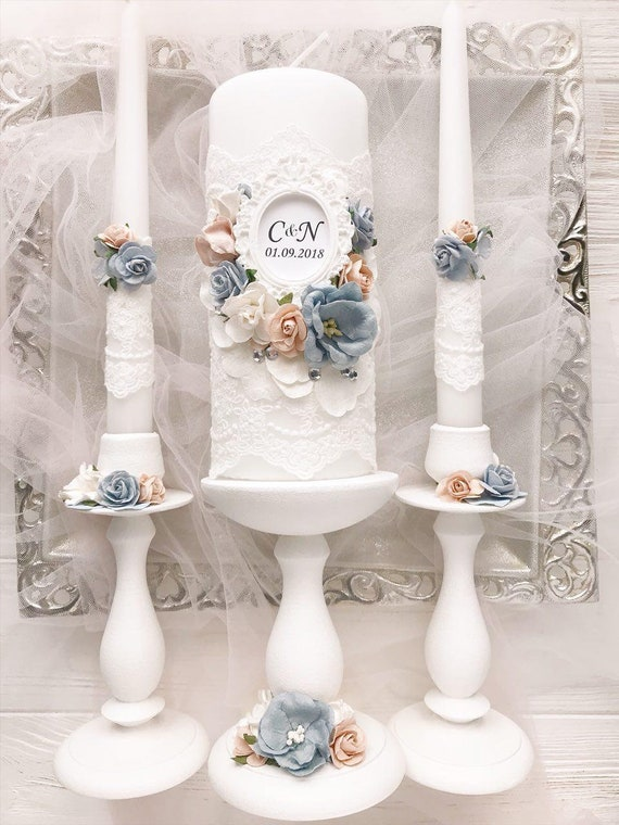 Dusty Blue Wedding Decor Lace Dusty Blue And Lace Wedding Etsy