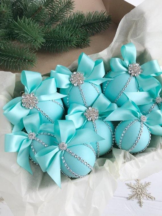 Christmas Ornament Set.Christmas Ornaments Set Tiffany Christmas Ornament Turquoise Christmas Ornaments Tiffany Christmas Blue Christmas Ornament Handmade
