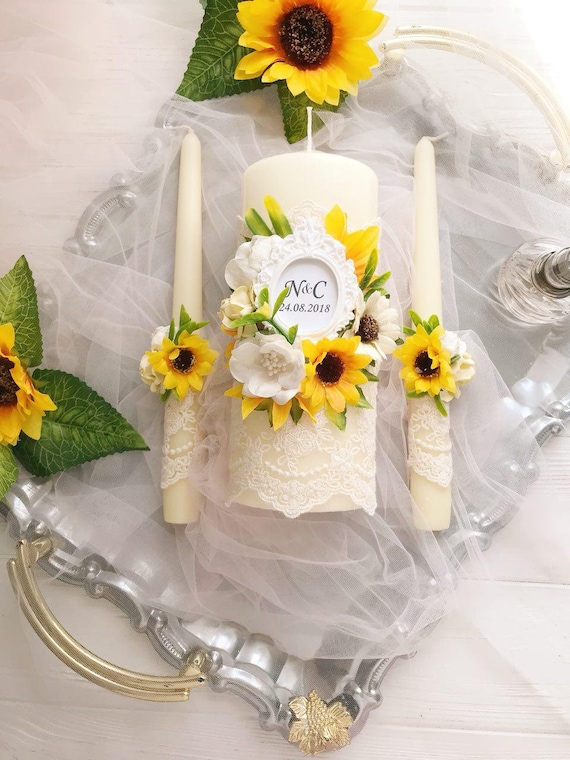 Sunflower Wedding Decor Unity Candles And Holders Yellow Etsy