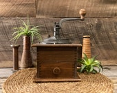 Rise Shine - Antique Coffee Grinder - Hand Crank - Cast Iron and Wood Coffee Mill - Box Joints