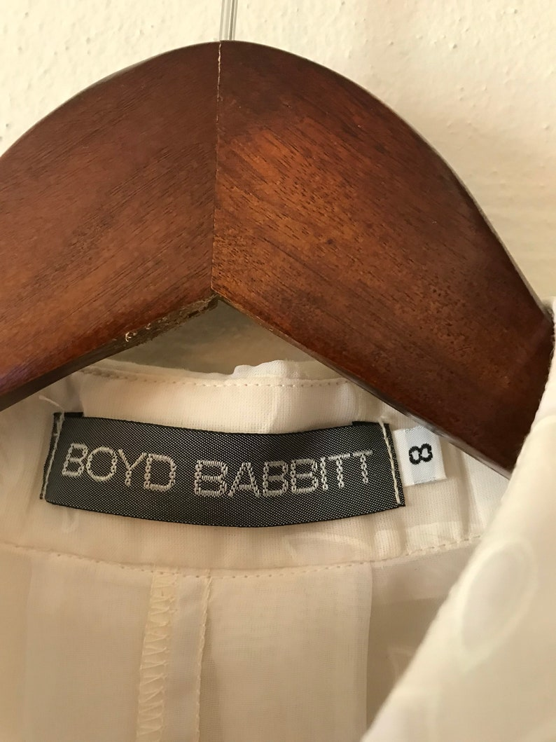 90s Vintage Oversized Boyd Babbit Floral Lace Sheer Blouse