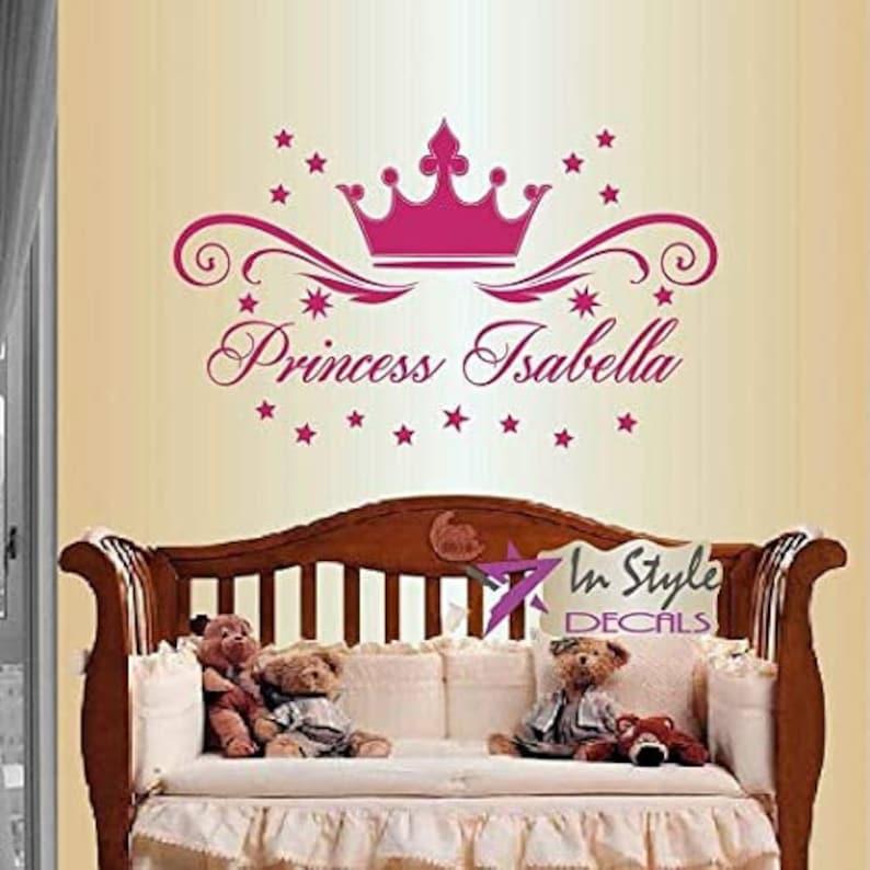 Wall Vinyl Decal Home Decor Art Sticker Princess Sleeps Here Phrase Crown Stars Baby Girl Nursery Bedroom Room Removable Mural Design 1659