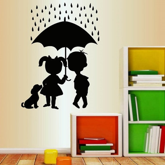 Chłopiec Dzieci Dziewczynka Kot Naklejki Parasol Pies Pokój Etsy