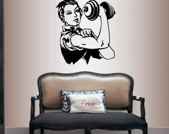 Wall Vinyl Decal Home Decor Art Sticker Retro Woman Girl Lifting Weights Kettle Bell Sports Workout Gym Removable Stylish Mural Design 1617