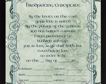 Wedding blessing certificate