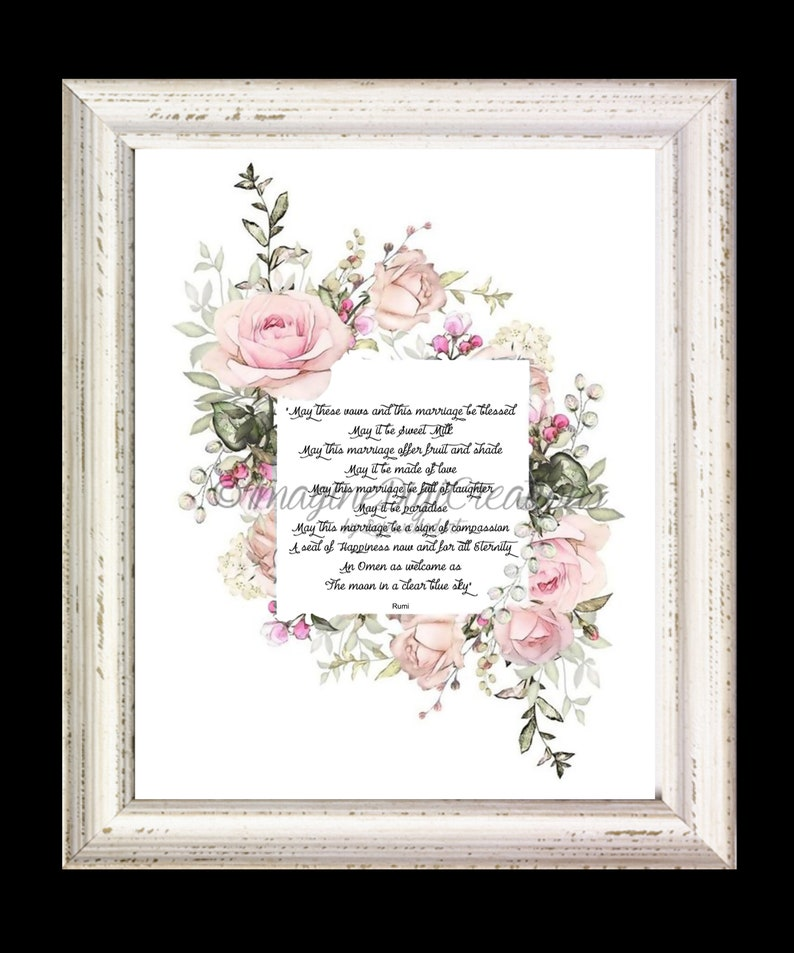 Romantic Wedding Vows.Romantic Wedding Vows Engagement Wedding Anniversary Bridal Hostess Gift Blessing For The Home Wall Art Digital Download Floral