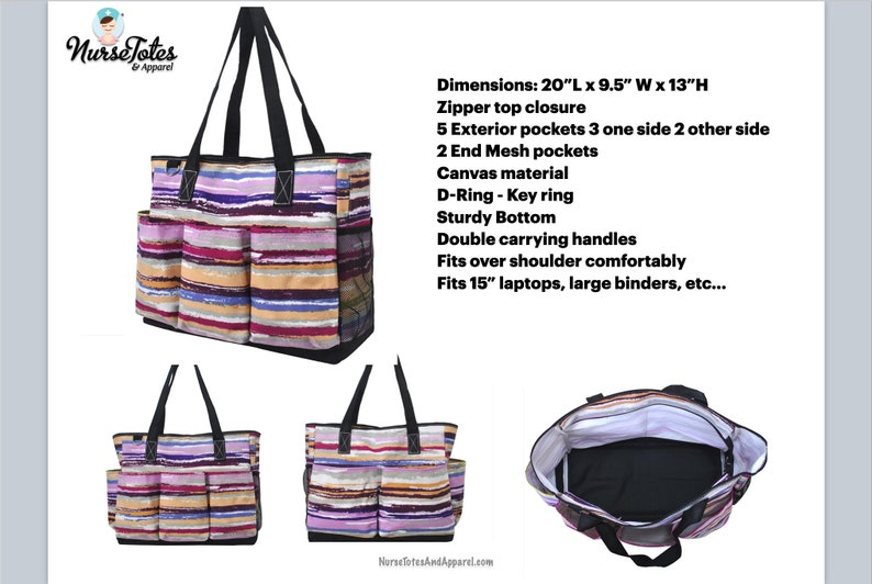 Large Caddy Tote Large Nurse Work Tote Grey Crosshatch Caddy Clinical Tote Gift For her