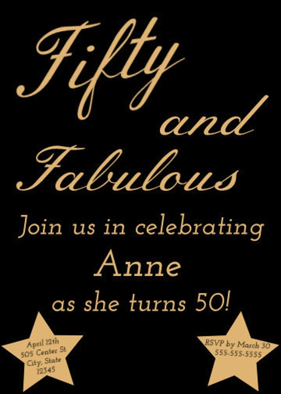50 and fabulous birthday invitation etsy 50 and fabulous birthday invitation filmwisefo