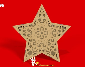 Vector for laser cutting 3D star fretwork for decoration of environments