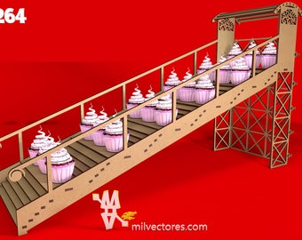 Vector for laser cutting Ladder Porta Cupcakes for birthday tables, Weddings, Special events