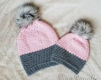 Mommy and me slouchy hat set   Faux Fur Pom Pom mother daughter matching  beanies  sister winter cap set   mom baby toboggan set 41e9b4a73337