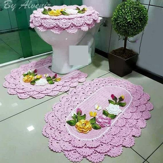 Set Of 3 Pieces For Bathroom Wool Hook Handmade Carpet Decoration