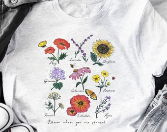 Bloom where you are planted ~ botanical shirt, botanical tee,wildflower shirt,Garden shirt, wildflower tee, plant shirt, women's flower tee
