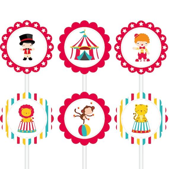 6 Circus Paper Toppers Circus Cupcake Toppers Carnival ...
