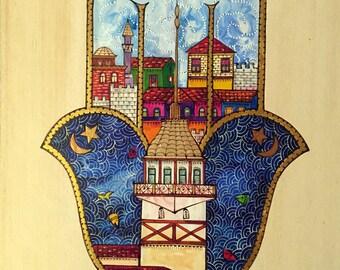 Hamsa Hand Druck, Istanbul Wandkunst, Maiden Tower Print, Bunten Wandkunst,  Wohnzimmer Wand Kunst, Wand Kunst Druck, Geschenk Für Mutter