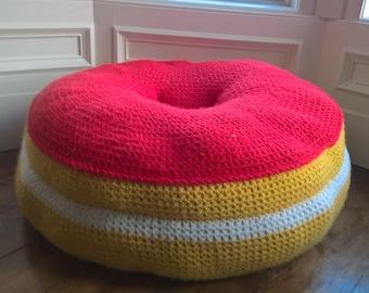 Giant Crochet Donut Floor Cushion