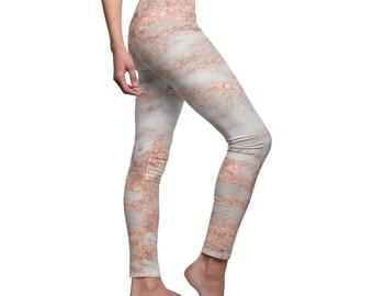 739062049c9fa9 Rose Gold Marble Yoga Leggings | Yoga Pants