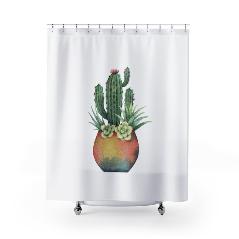 Potted Cactus Shower Curtain | Desert Shower Curtains | Desert Bathroom  Decor | Minimalist Bathroom | Minimalist Shower Curtain