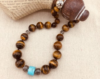 Tigers'eye Necklace, Round Tigers'eye Necklace, Tigers'eye and Turquoise, Classic Necklace