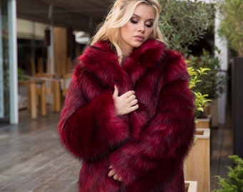 398a4521c59d6 Red vine   black winter faux fur coat for -31 F (-35C)