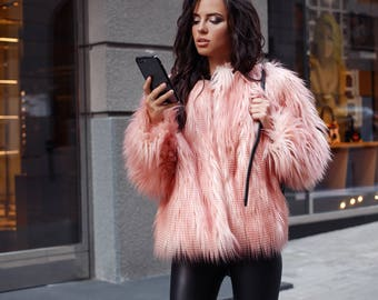 d4a9d944ef42 Pink faux fur coat