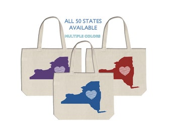 69949fc17f NEW YORK Tote Bags - Bulk or Single - Love Your State - Heart Home Gift  Apparel Present Birthday Wedding Bridal Party College