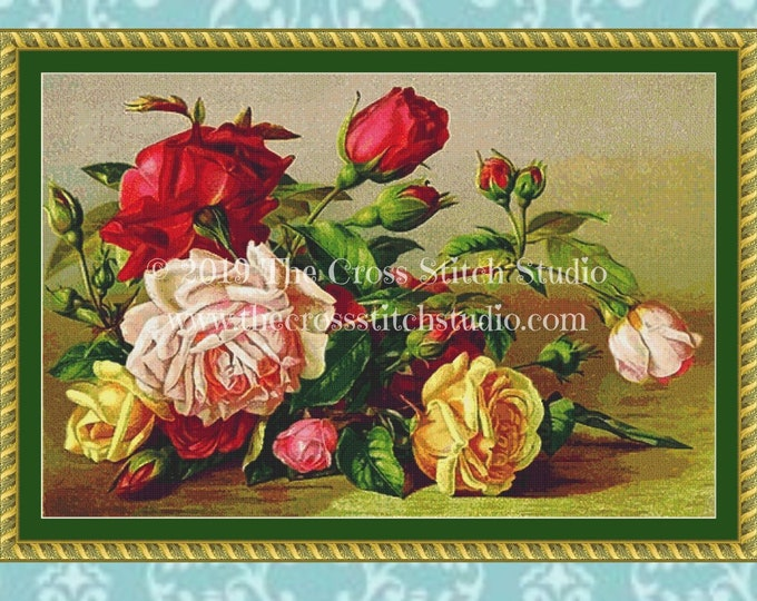 Freshly Picked Roses Cross Stitch Pattern