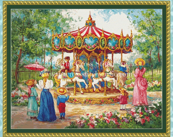 Magical Horses Carousel Cross Stitch Pattern