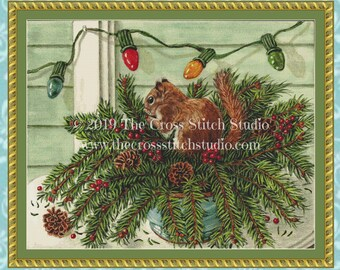 Windfall Christmas Squirrel Cross Stitch Pattern