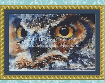 Watercolor Owl Cross Stitch Pattern
