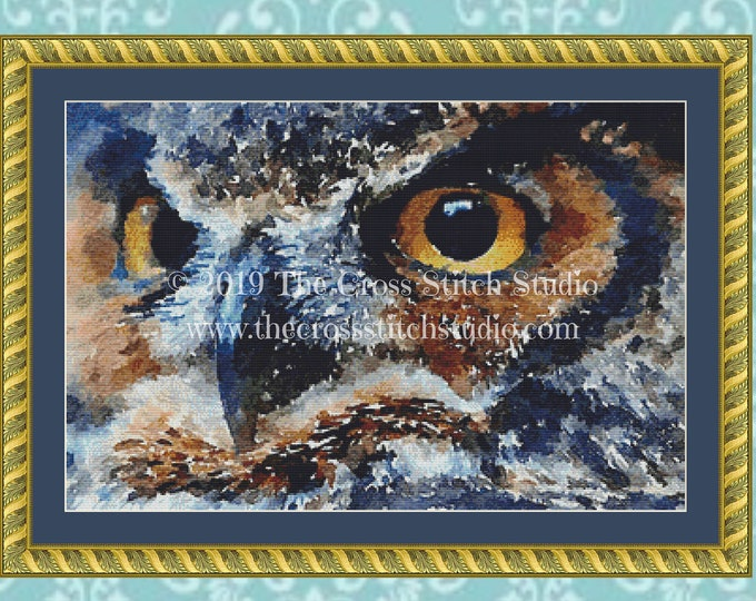 Watercolor Owl Cross Stitch Pattern