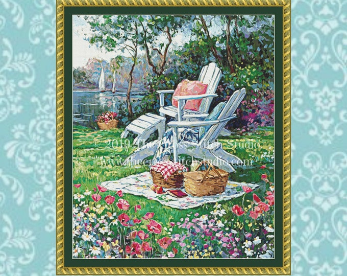 Adirondack Summer Cross Stitch Pattern ~ SMALL