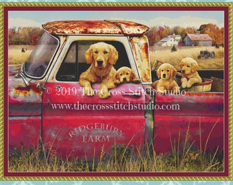 Truck and Goldens Cross Stitch Pattern