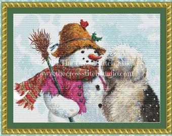 Snowman and Sheepdog Cross Stitch Pattern PDF