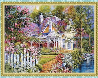 Victorian House Cross Stitch Pattern