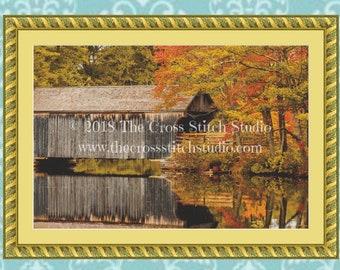 Covered Bridge Cross Stitch Pattern LARGE